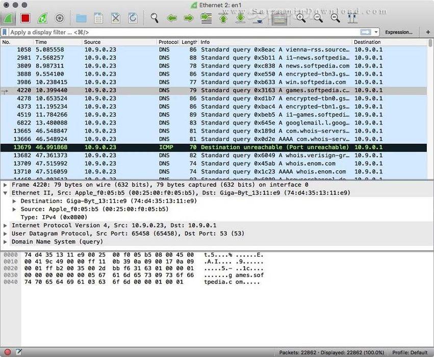 نرم افزار نظارت و کنترل شبکه (برای مک) - WireShark 2.4.5 Mac