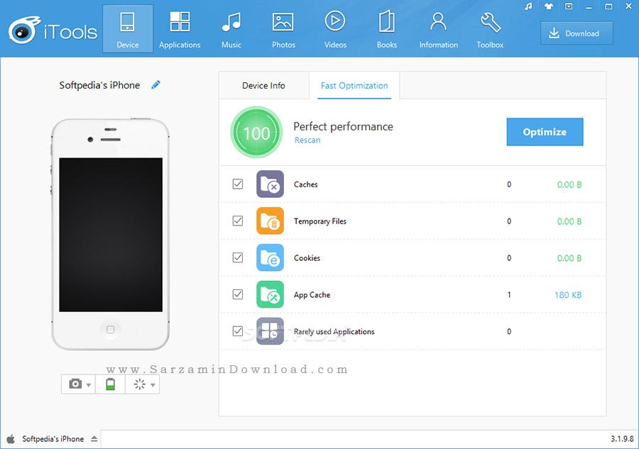 نرم افزار مدیریت موبایل آیفون (برای ویندوز) - iTools 4.3.8.5 Windows