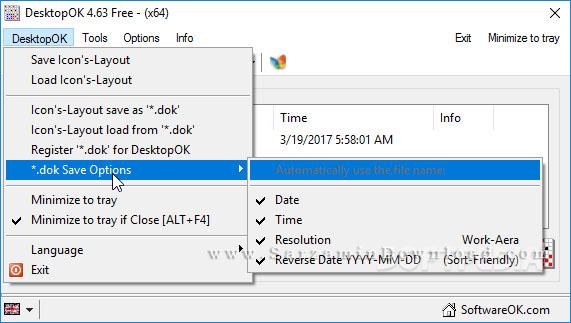 نرم افزار ذخیره و بازیابی وضعیت آیکون های دسکتاپ (برای ویندوز) - DesktopOK 5.65 Windows