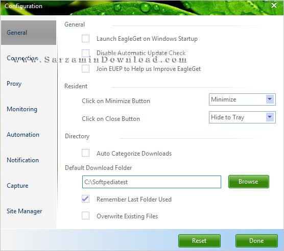 نرم افزار مدیریت دانلود (برای ویندوز) - EagleGet 2.0.4.80 Windows
