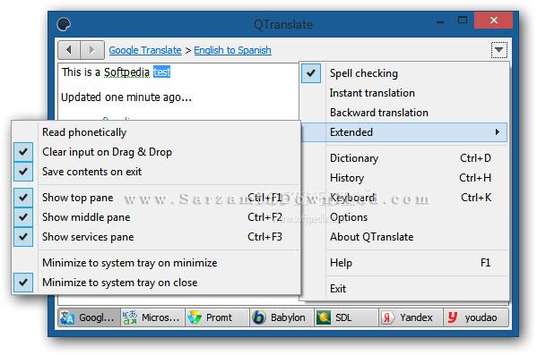 نرم افزار ترجمه متن به صورت آنلاین (برای ویندوز) - QTranslate 6.7.1 Windows